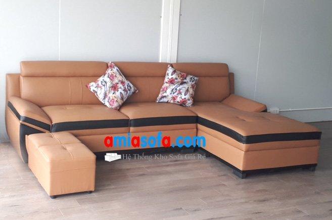 Hình ảnh mẫu sofa da đẹp giá rẻ kê phòng khách