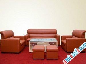 Sofa da giá rẻ kiểu tay tựa 1 dài 2 ngắn