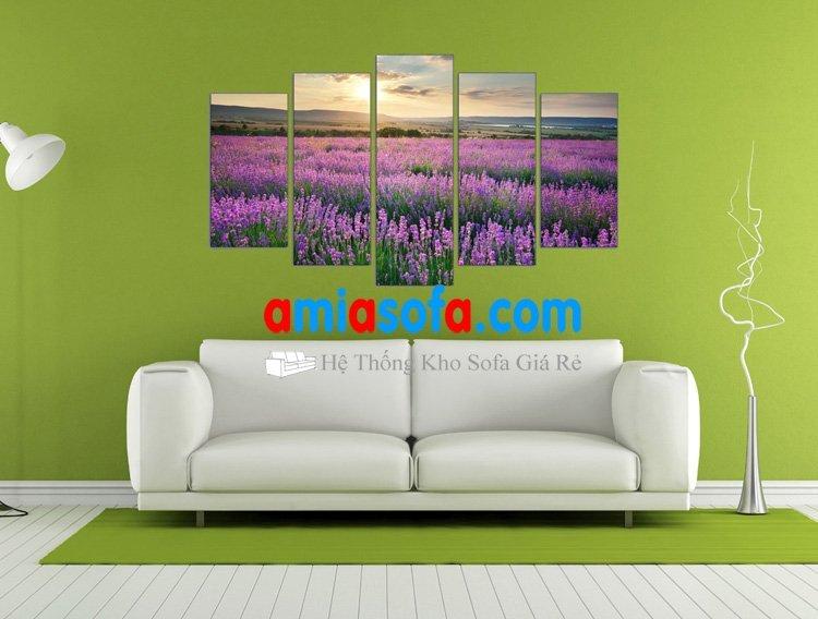 Hình ảnh mẫu tranh phong cảnh cảnh đồng hoa Lavender - mã AmiA 1023