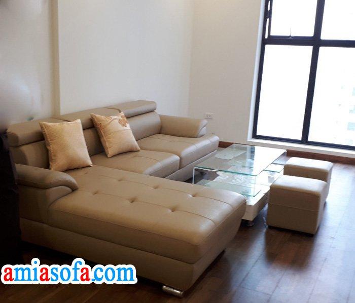 Hình ảnh mẫu sofa da đẹp kê phòng khách