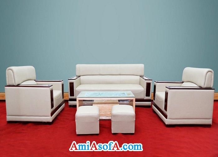 Hình ảnh bộ ghế sofa da kiểu tay tựa