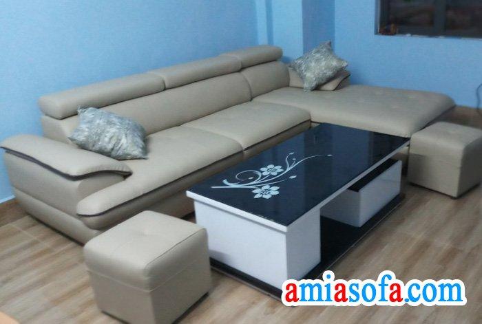 Mẫu sofa da kê phòng khách gia đình đẹp