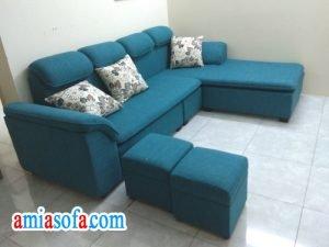 Hinh anh mau ghe sofa ni dep mau xanh