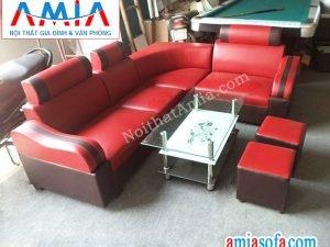 Sofa da giá rẻ màu đỏ hợp cho căn phòng trung bình nhỏ