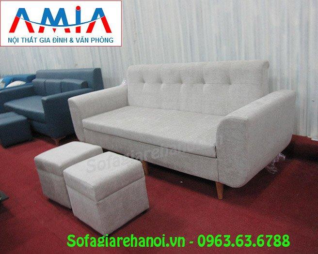 Sofa nhỏ đẹp hiện đại Hà Nội với chất liệu nỉ cùng gam màu ghi đẹp
