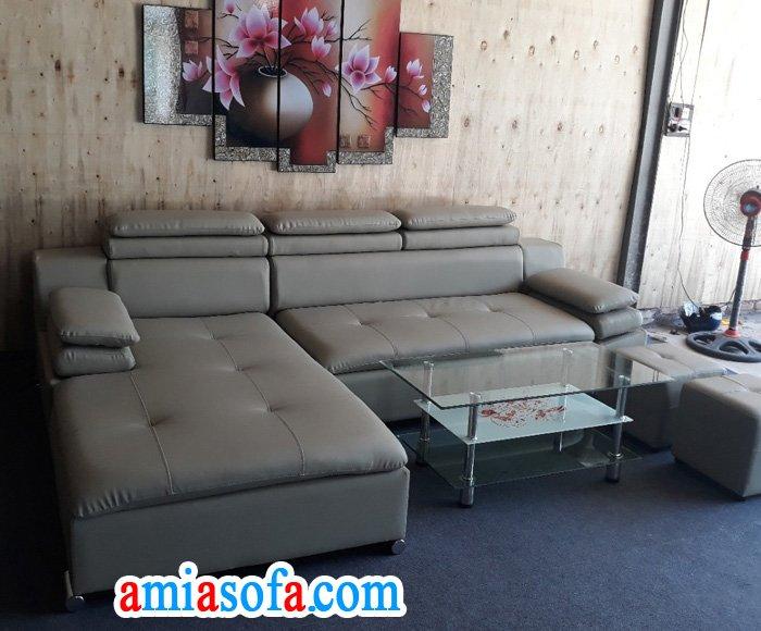 Hình ảnh mẫu sofa da góc đẹp SFD 121