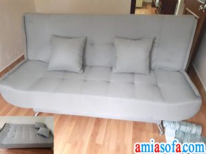 Hinh anh mau sofa giuong dep, sopha giuong gap, chat vai ni mau ghi