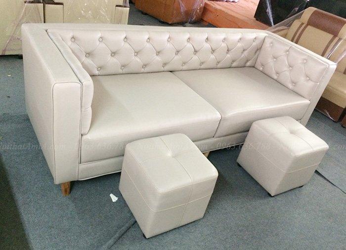 Sofa văng da rút khuy thiết kế 2 chỗ đẹp hiện đại