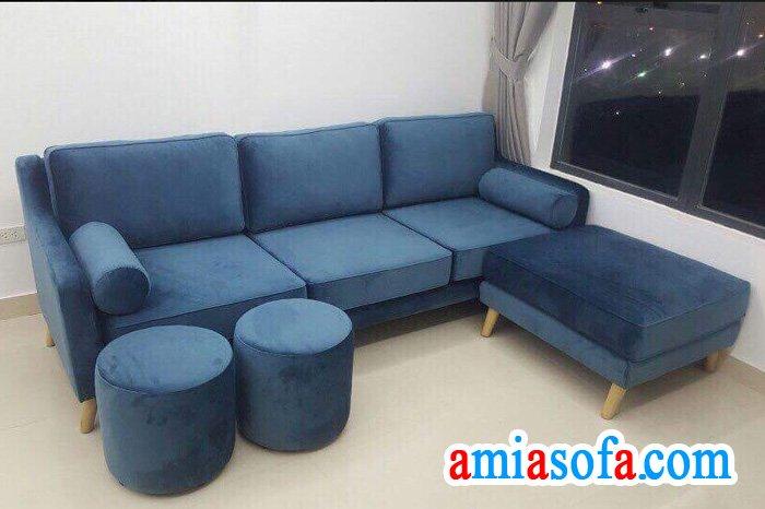 Hình ảnh mẫu ghế sofa văng 3 chỗ ngồi mầu nỉ xanh xẫm SFV 2413