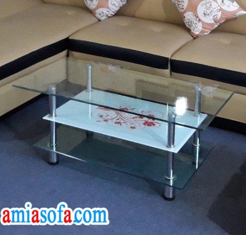 Bàn sofa giá rẻ, bàn kính kê sofa loại 3 tầng.