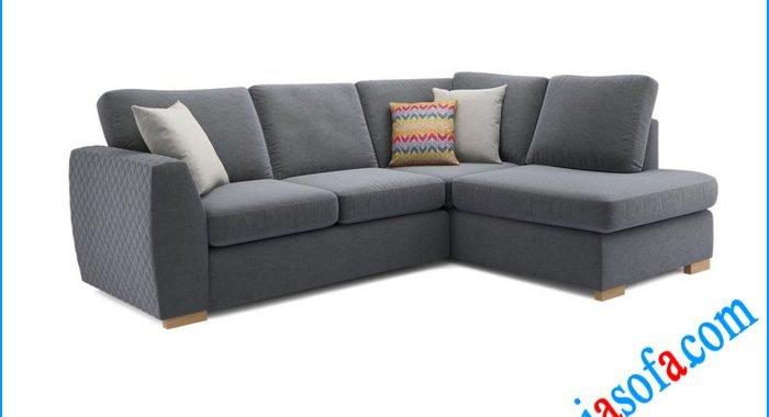 Hình ảnh mẫu sofa góc nỉ đẹp AmiA 3006a mầu xanh ghi xám