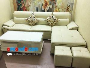 Hình ảnh bộ ghế sofa da đẹp dạng góc kê phòng khách