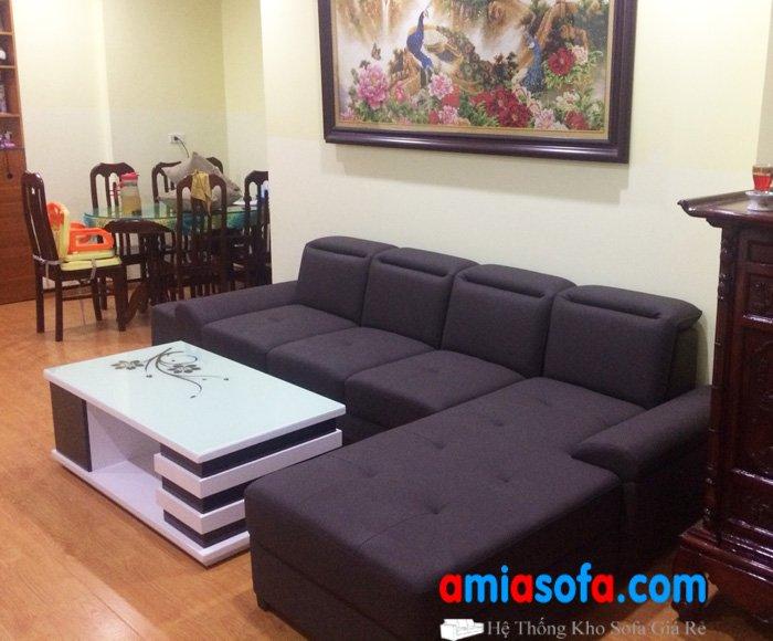Hình ảnh ghế sofa nỉ đẹp giá rẻ kê phòng khách nhà chung cư