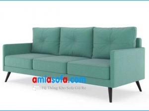 Hình ảnh ghế sofa văng nỉ chân gỗ cao. Mầu xanh trẻ trung