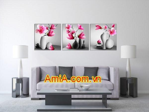 Hình ảnh mẫu tranh treo tường bình hoa mã AmiA 1490