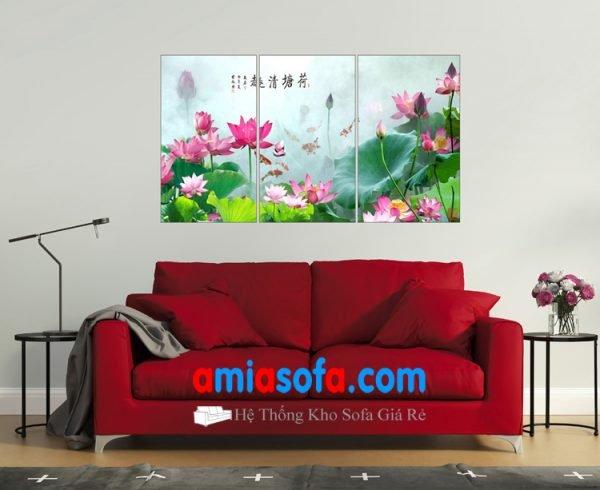 Hình ảnh tranh treo tường đẹp hình ảnh hoa sen, mã AmiA 1321