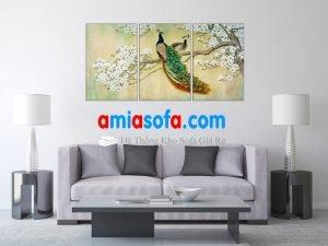 Hình ảnh mẫu tranh đôi chim công đẹp mã AmiA 1099