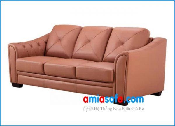 Bộ ghế sofa văng chất liệu da đẹp mầu cam
