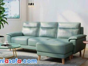 sofa văng da SFD 253 màu xanh lơ nhẹ nhàng thanh lịch