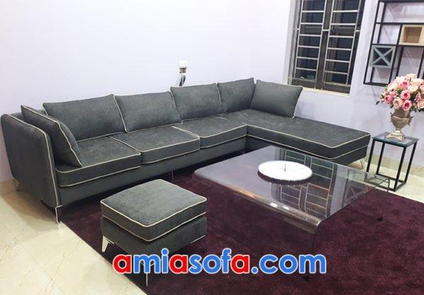 Sofa góc chữ L rộng chất nỉ cho phòng khách hiện đại