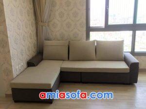 Ghế sofa nỉ đẹp dạng góc chữ L cho phòng khách nhỏ hiện đại