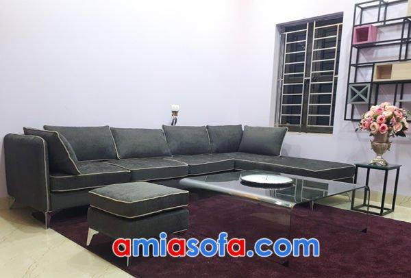 Ghế sofa nỉ góc đẹp cho phòng khách rông hiện đại AmiA