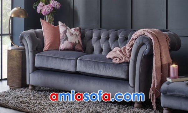 Ghế sofa nỉ văng thiết kế tân cổ điển sang trọng