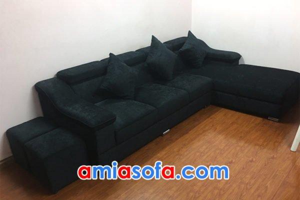 Sofa góc chữ L hiện đại bọc nỉ nhung mềm mại