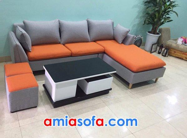 Sofa nỉ góc chữ L cho phòng khách đẹp