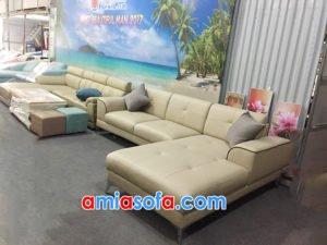 hình ảnh mẫu sofa da góc chữ L đẹp SFD 192
