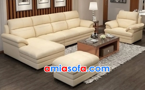 Bộ sofa da kê phòng khách rộng SFD 204